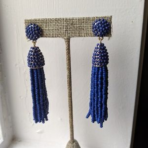 BaubleBar Blue Beaded Tassle Earrings
